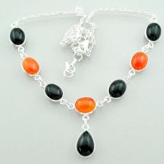 925 silver 32.07cts halloween natural black onyx cornelian necklace t57605