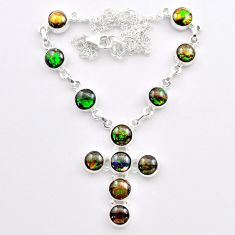925 silver 34.06cts natural ammolite (canadian) cross handmade necklace t45339