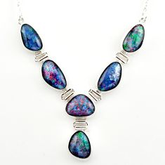 925 silver 39.69cts natural blue australian opal triplet fancy necklace r27484