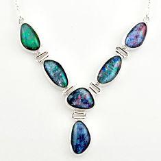 925 silver 39.31cts natural blue australian opal triplet fancy necklace r27487