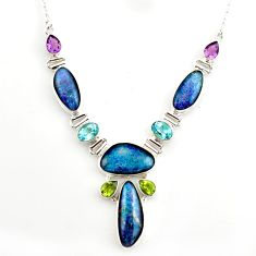 925 silver 45.01cts natural blue australian opal triplet topaz necklace r27492
