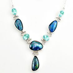 925 silver 42.29cts natural blue australian opal triplet topaz necklace r27495
