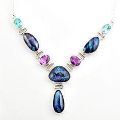925 silver 43.40cts natural blue australian opal triplet topaz necklace r27498