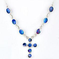 925 silver 12.56cts natural blue doublet opal australian cross necklace r56159
