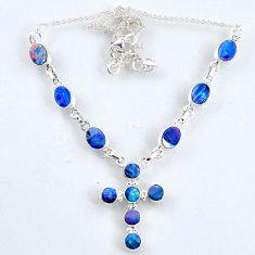 925 silver 11.58cts natural blue doublet opal australian cross necklace r56240