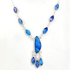 925 silver 19.87cts natural blue doublet opal australian fancy necklace r49402