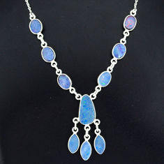 925 silver 17.69cts natural blue doublet opal australian fancy necklace r94047