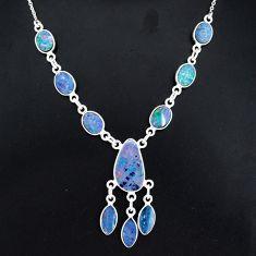 925 silver 18.15cts natural blue doublet opal australian fancy necklace r94053