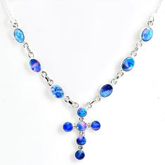 925 silver 12.39cts natural blue doublet opal australian necklace jewelry r56135