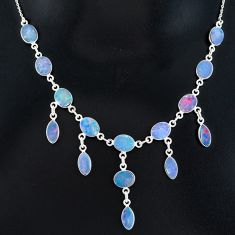 925 silver 25.62cts natural blue doublet opal australian necklace r94024