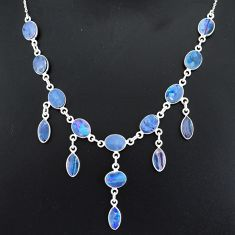 925 silver 25.07cts natural blue doublet opal australian necklace r94027