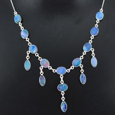 925 silver 25.23cts natural blue doublet opal australian necklace r94033