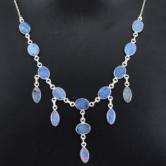925 silver 24.67cts natural blue doublet opal australian necklace r94037