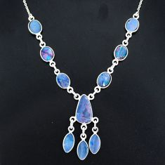 925 silver 17.64cts natural blue doublet opal australian necklace r94050