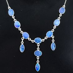 925 silver 20.60cts natural blue doublet opal australian necklace r94068