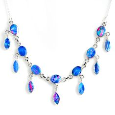 925 silver 25.94cts natural blue doublet opal australian oval necklace r56127