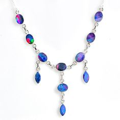 925 silver 19.62cts natural blue doublet opal australian oval necklace r56138