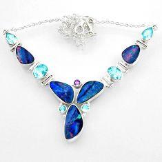 925 silver 31.29cts natural blue doublet opal australian topaz necklace r52276