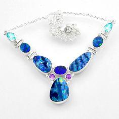 925 silver 30.41cts natural blue doublet opal australian topaz necklace r52287