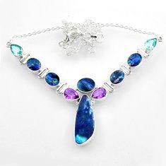 925 silver 31.42cts natural blue doublet opal australian topaz necklace r52295
