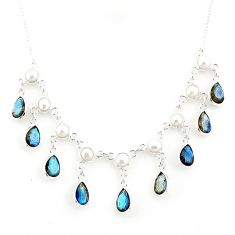 925 silver 22.54cts natural blue labradorite pear white pearl necklace r77394