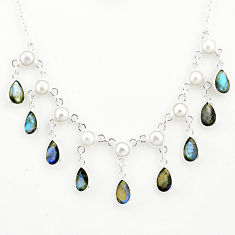 925 silver 22.15cts natural blue labradorite pear white pearl necklace r77396
