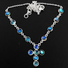 925 silver 18.01cts natural blue labradorite round cross necklace jewelry r63592