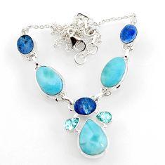 925 silver 31.50cts natural blue larimar doublet opal australian necklace d44536
