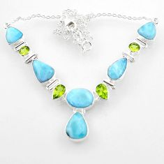 925 silver 37.13cts natural blue larimar peridot oval shape necklace r52247