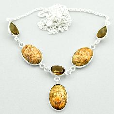 925 silver 21.67cts natural brown picture jasper smoky topaz necklace t54913