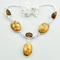 925 silver 23.69cts natural brown picture jasper smoky topaz necklace t54918
