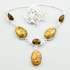 925 silver 23.74cts natural brown picture jasper smoky topaz necklace t54920