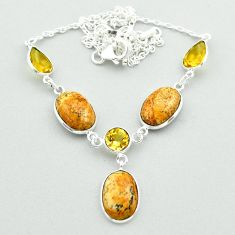 925 silver 22.26cts natural brown picture jasper yellow citrine necklace t54912