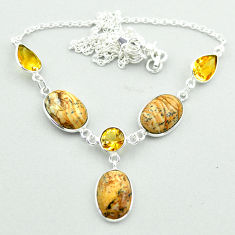 925 silver 23.23cts natural brown picture jasper yellow citrine necklace t54916