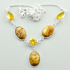 925 silver 22.26cts natural brown picture jasper yellow citrine necklace t55640