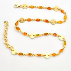 925 silver 17.05cts natural ethiopian opal 14k gold chain necklace r31458