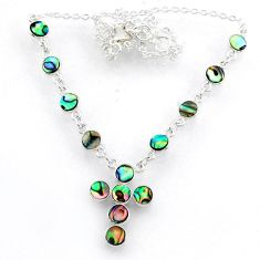 925 silver 8.23cts natural green abalone paua seashell cross necklace r71991