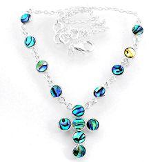 925 silver 7.99cts natural green abalone paua seashell cross necklace r71993