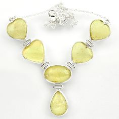 925 silver 76.30cts natural libyan desert glass (gold tektite) necklace r27513