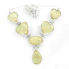 925 silver 76.30cts natural libyan desert glass (gold tektite) necklace r27517