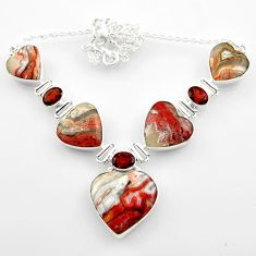 925 silver 65.08cts natural mexican laguna lace agate heart necklace r52304
