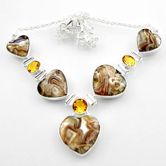 925 silver 69.36cts natural mexican laguna lace agate heart necklace r52312