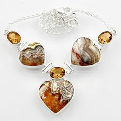 925 silver 43.32cts natural mexican laguna lace agate heart necklace r52329