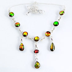 925 silver 29.52cts natural multi color ammolite (canadian) necklace r56030