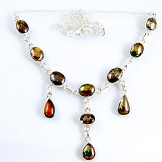 925 silver 34.52cts natural multi color ammolite (canadian) necklace r56035
