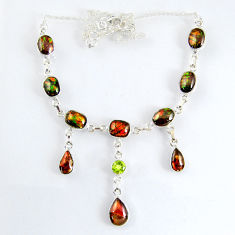 925 silver 33.57cts natural multi color ammolite (canadian) necklace r56038