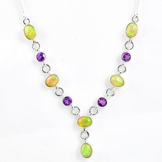 925 silver 13.98cts natural multi color ethiopian opal amethyst necklace r59488