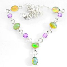 925 silver 15.62cts natural multi color ethiopian opal amethyst necklace r73103
