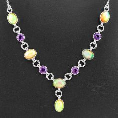 925 silver 16.84cts natural multi color ethiopian opal amethyst necklace t2952