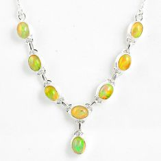 925 silver 15.94cts natural multi color ethiopian opal oval necklace r59464